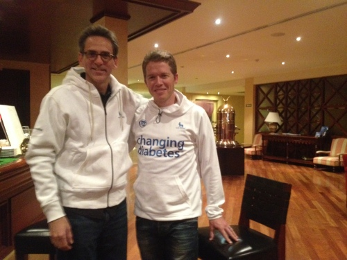 On opening night of the Team Novo Nordisk with team founder and CEO Phil Southerland.