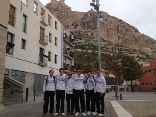 With the boys in the old part of town, below the Castillo de Santa Barbara.