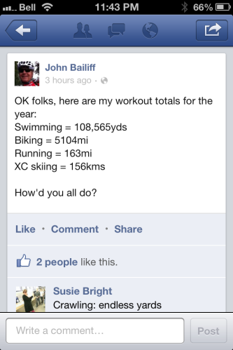 John's 2012 training stats