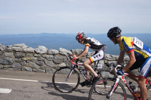 Alex just before the finish line at the Whiteface Mountain Hill Climb: 1:12 hrs and a bronze medal.