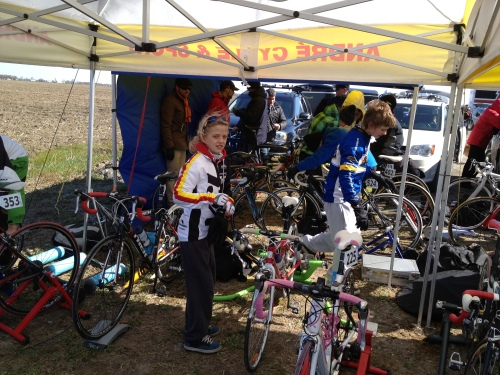 Alex and Gaby warming up before their first road race.