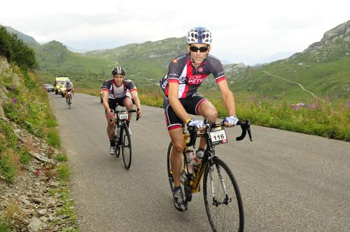 With Marco on the climb of Cormet de Roseland.