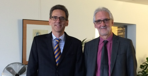 With Brian Cookson, Head of the UCI, at the UCI headquarters in Aigle, Switzerland on November 24, 2014.